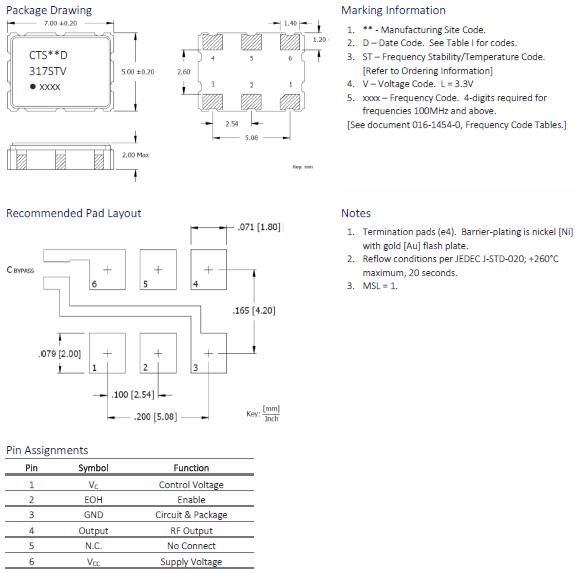 CTS晶振,压控晶体振荡器,317晶振,317LB3I1000T晶振