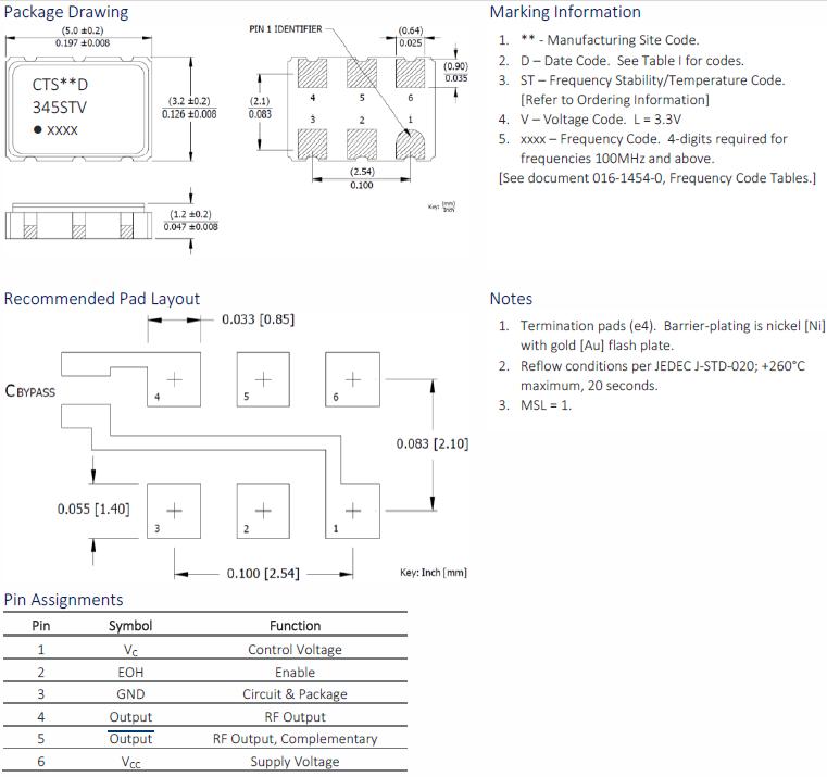 CTS晶振,差分晶振,345晶振,345LB5C1250T晶振