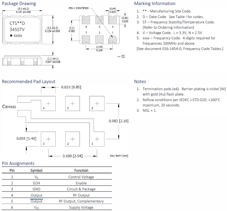CTS晶振,有源晶振,375晶振,LVDS差分晶振,375LB3C2000T晶振